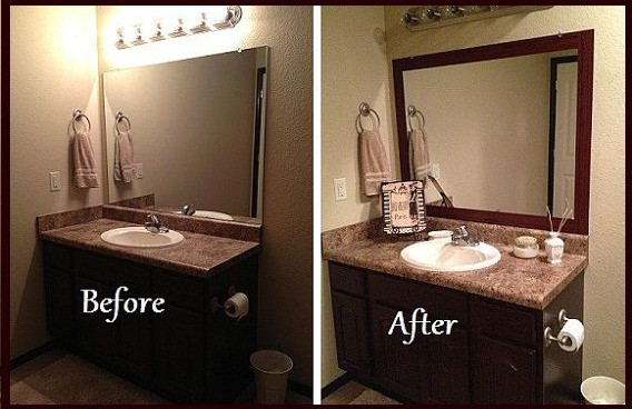 Brown Framed Bathroom Mirrors framed bathroom vanity mirrors | interior design ideas