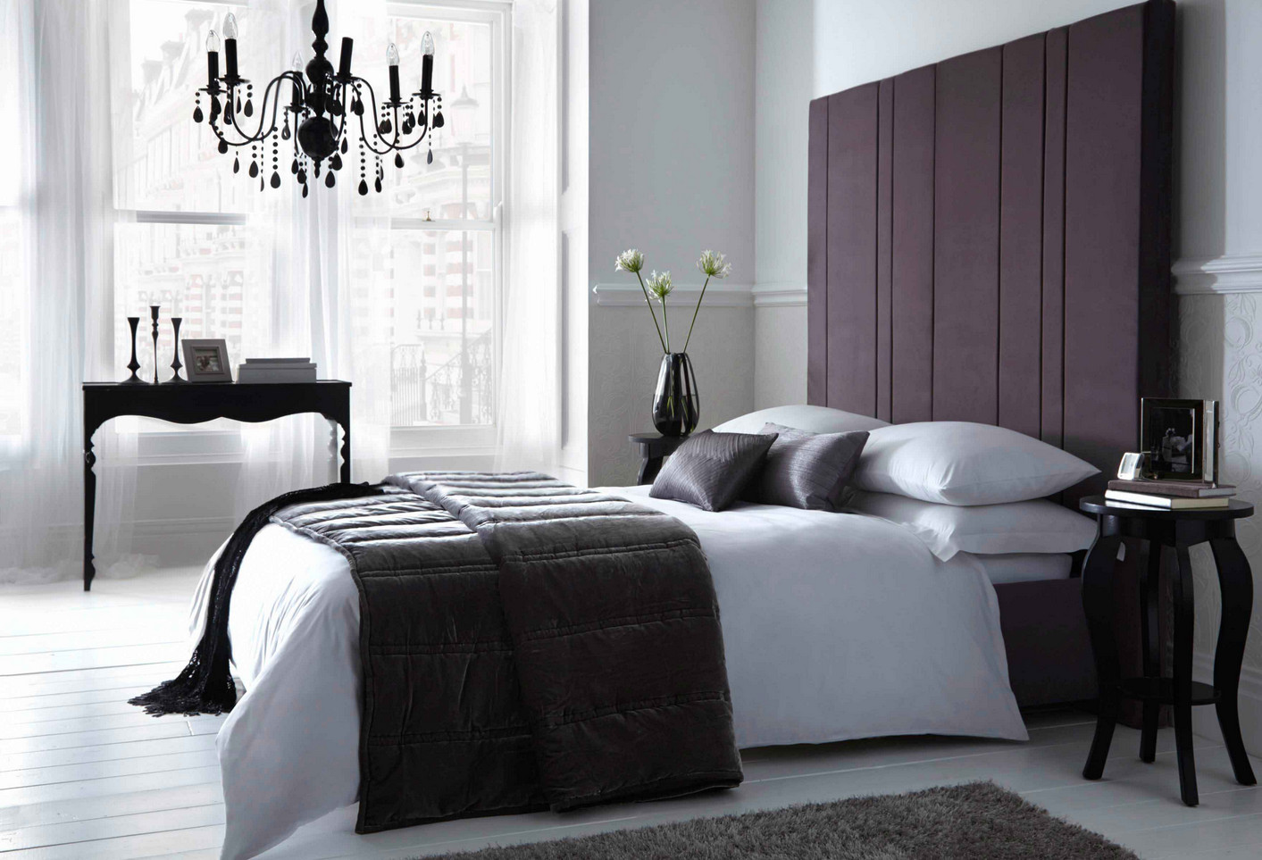 black chandelier bedroom lighting