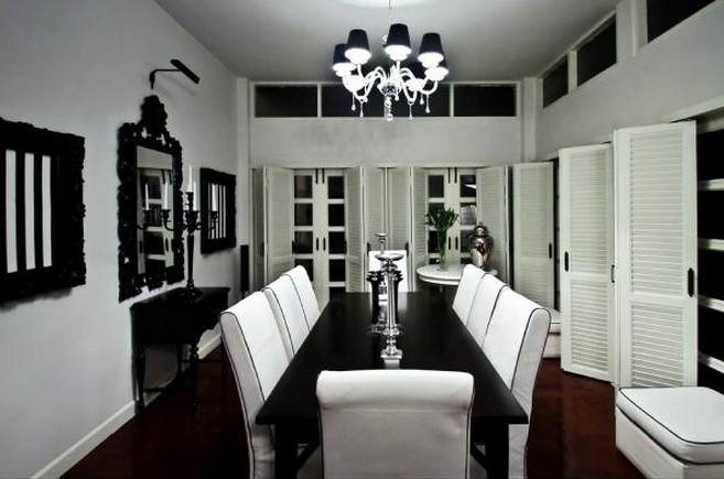 black chandelier dining room