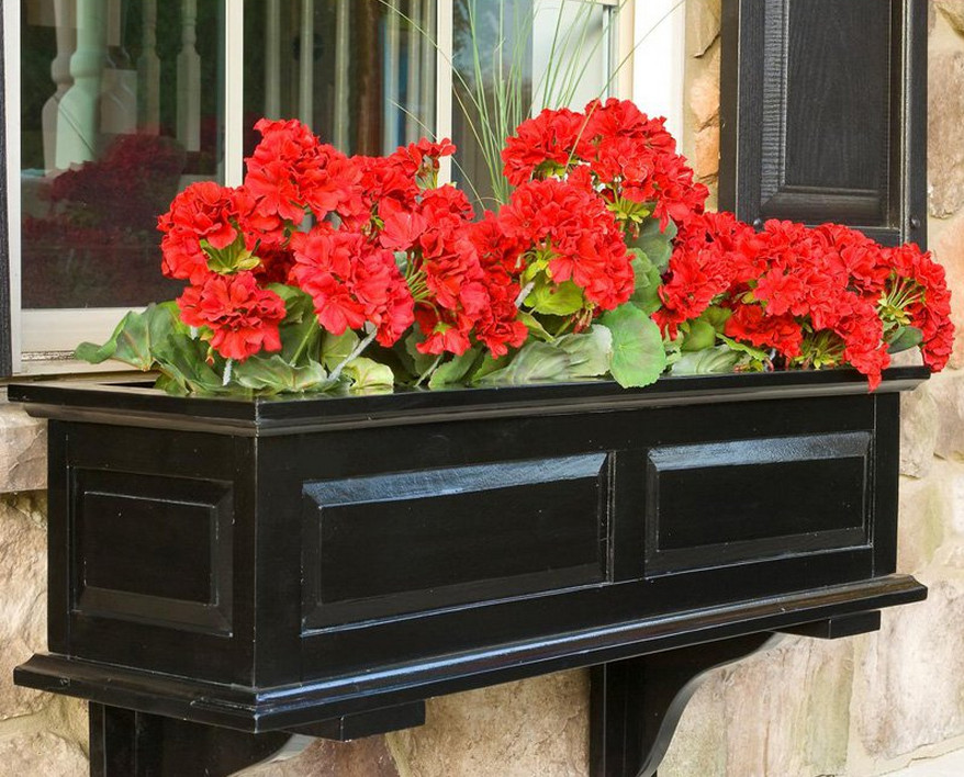 black composite window boxes