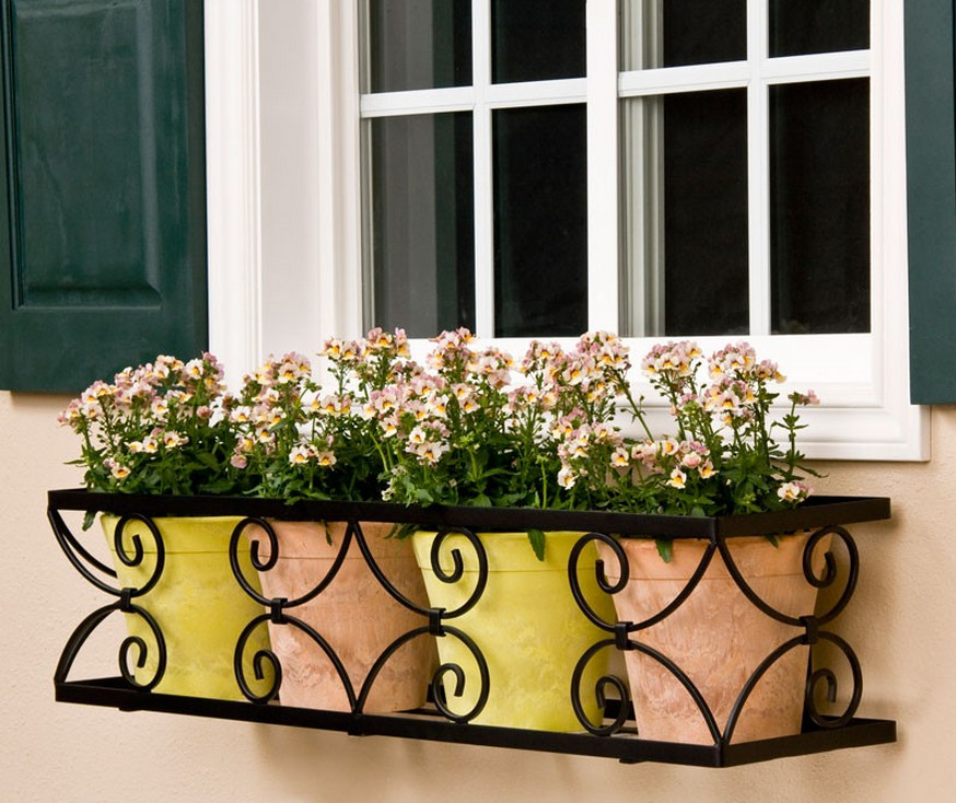 black iron window boxes