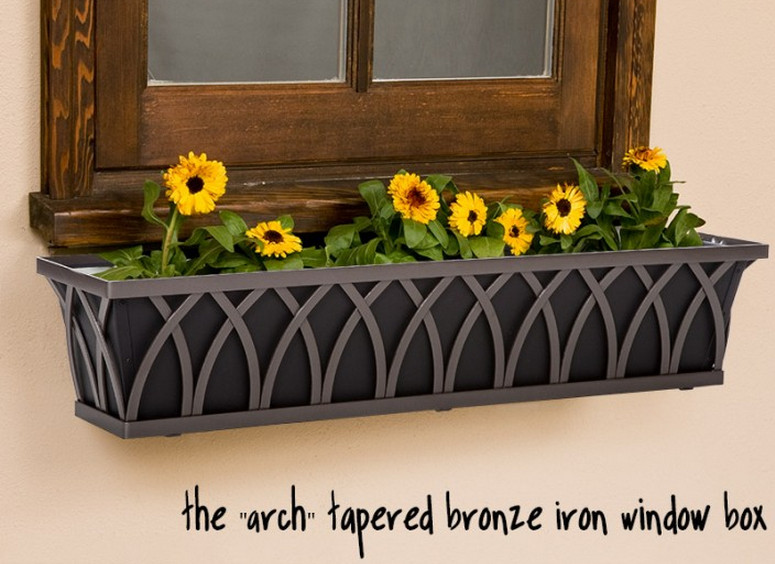 black plastic window boxes