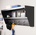 black wall shelf with hooks