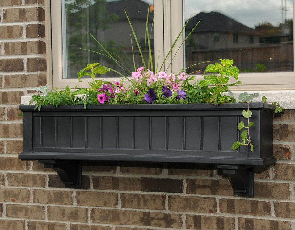 black wooden window boxes