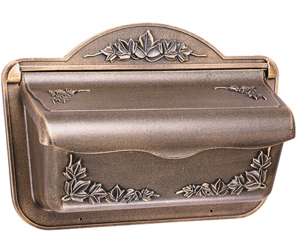 bronze horizontal wall mount mailbox