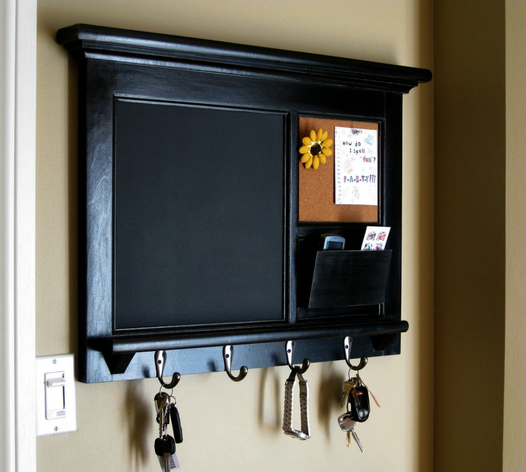 chalk board with hooks