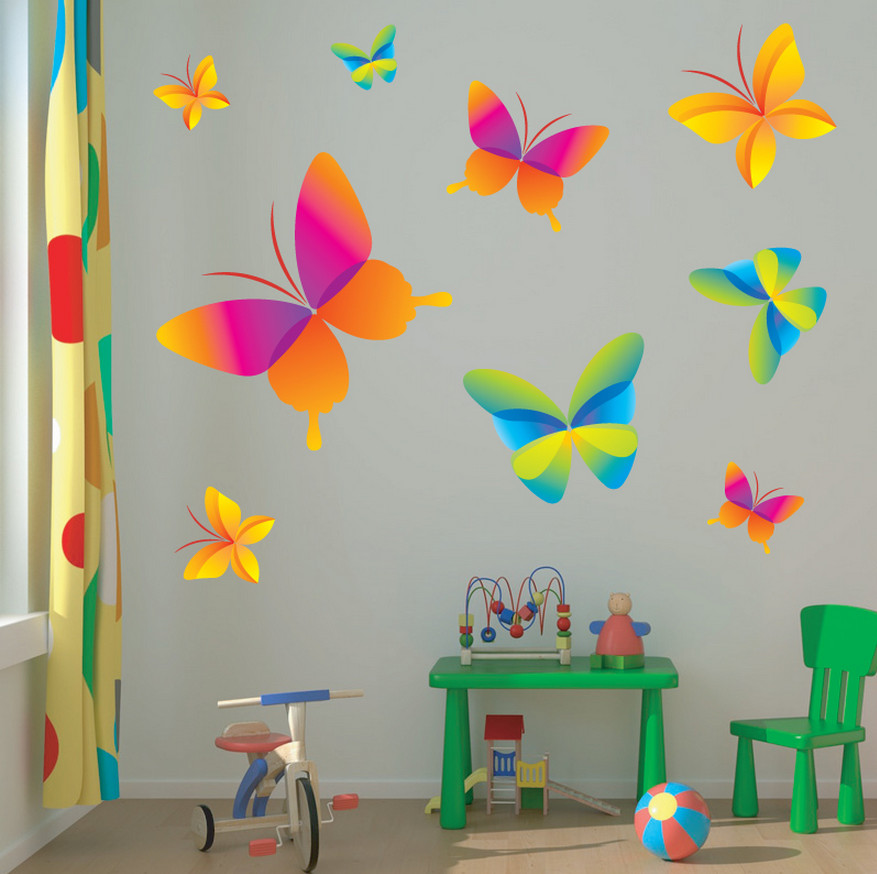 Childrens butterfly wall stickers interior design ideas for Butterfly wall mural stickers