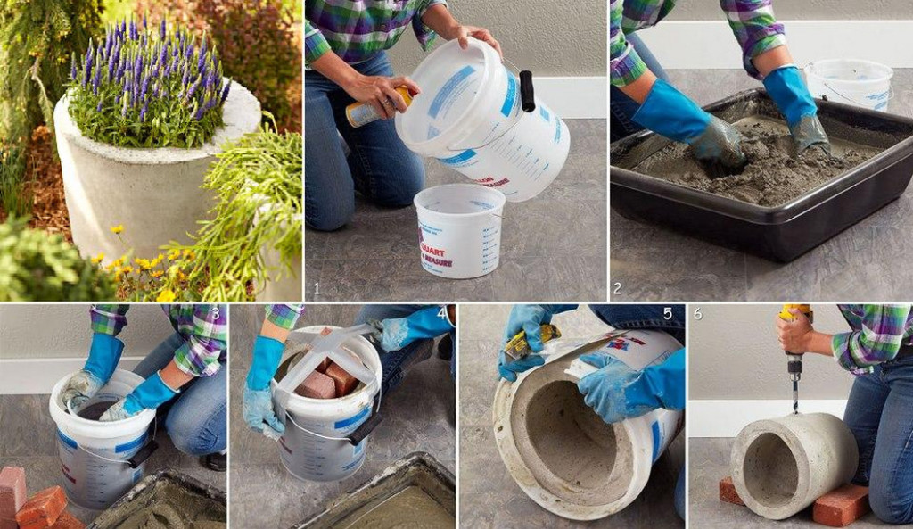 concrete flower pots ideas