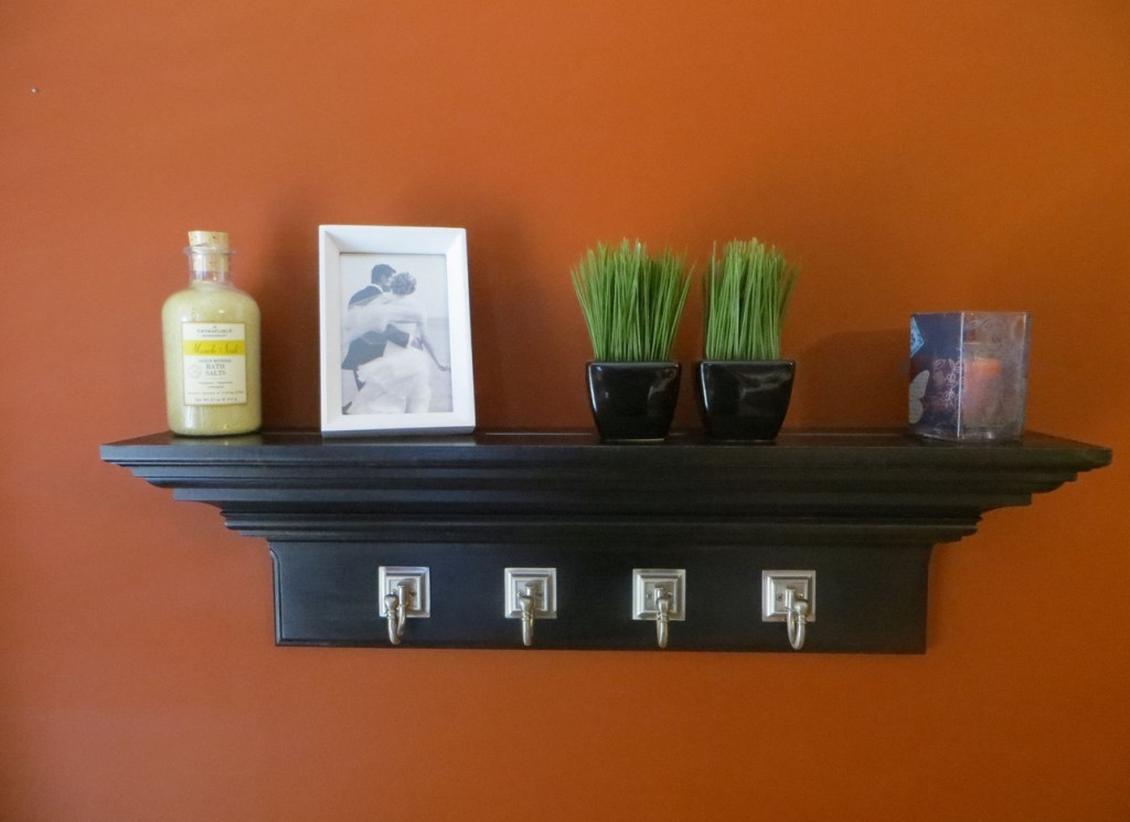crown molding shelf with hooks