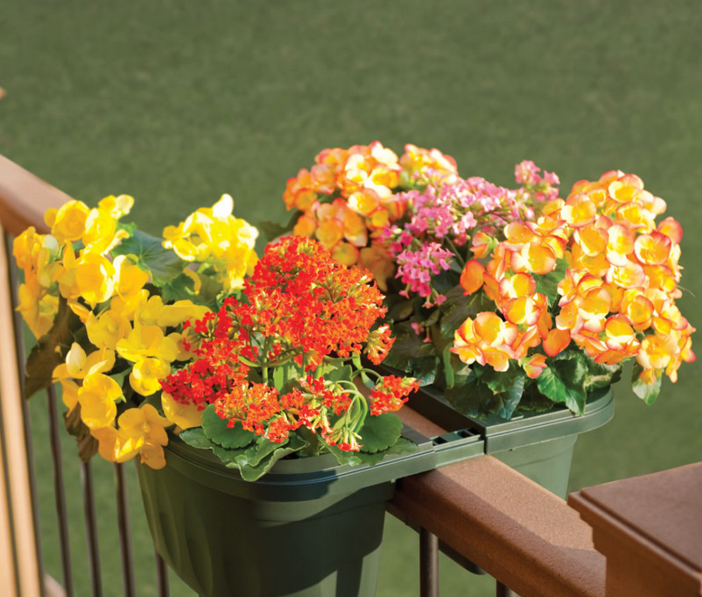 deck railing flower planters