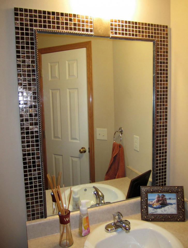 Diy bathroom mirror frame tile interior design ideas for Custom made mirrors for bathrooms