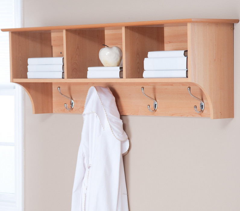 espresso wall shelf with hooks