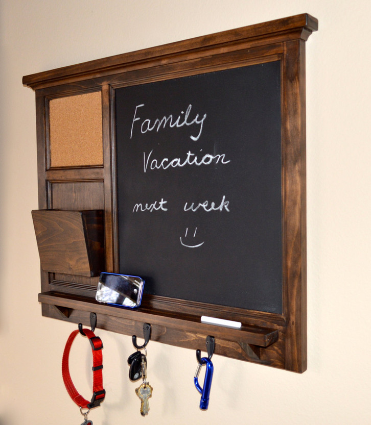 framed chalkboard with hooks