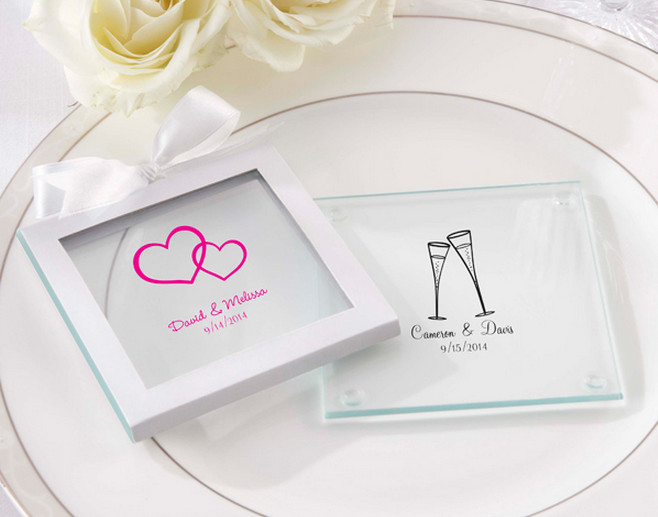 glass wedding coasters