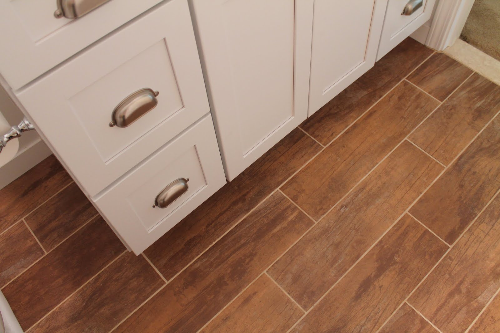 Bathroom wood grain tile flooring