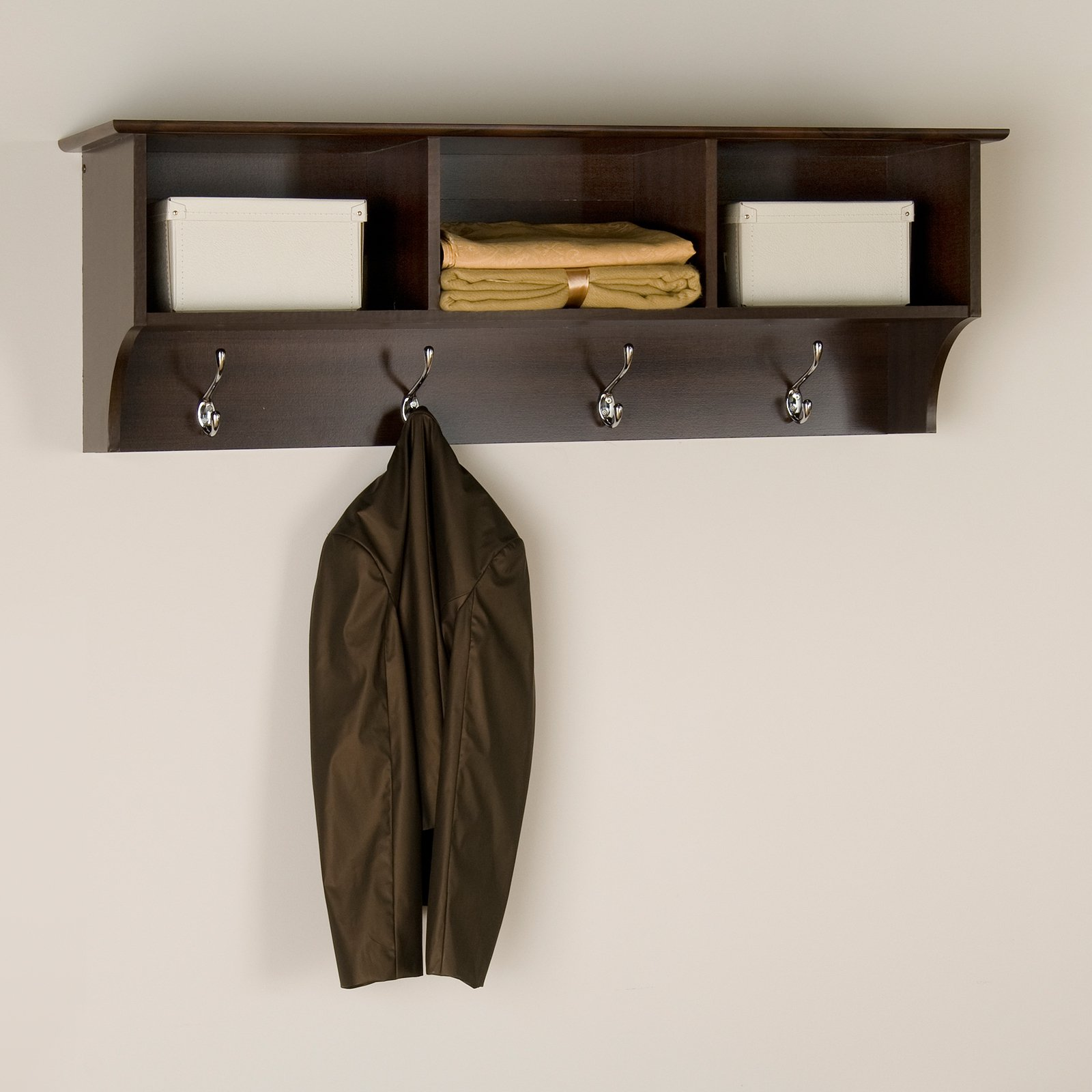 Espresso Entryway Cubbie Shelf and Coat Rack