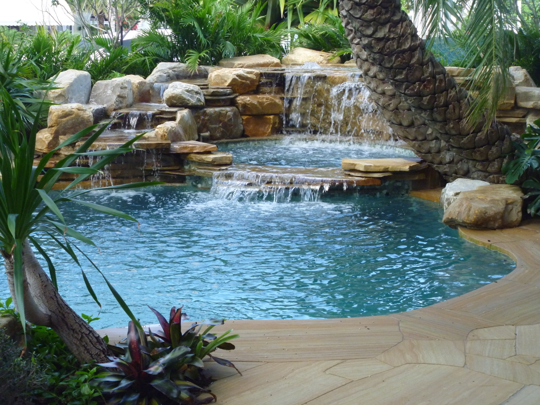 Florida swimming pool waterfalls