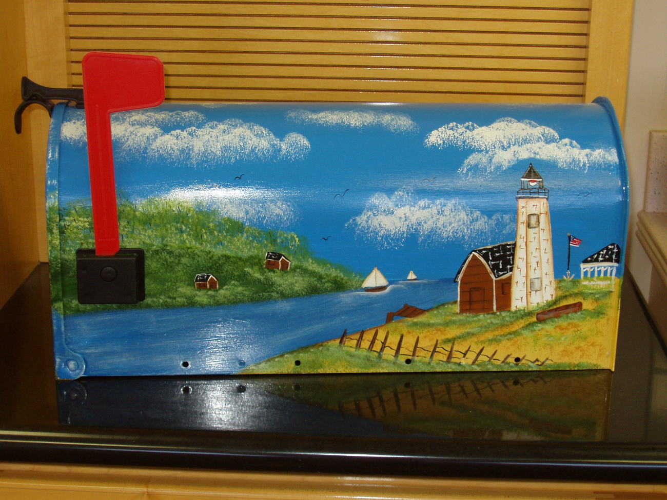 Hand Painted Mailbox Lighthouse Design