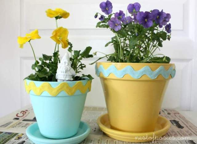 Make A Colorful Chevron Flower Pot