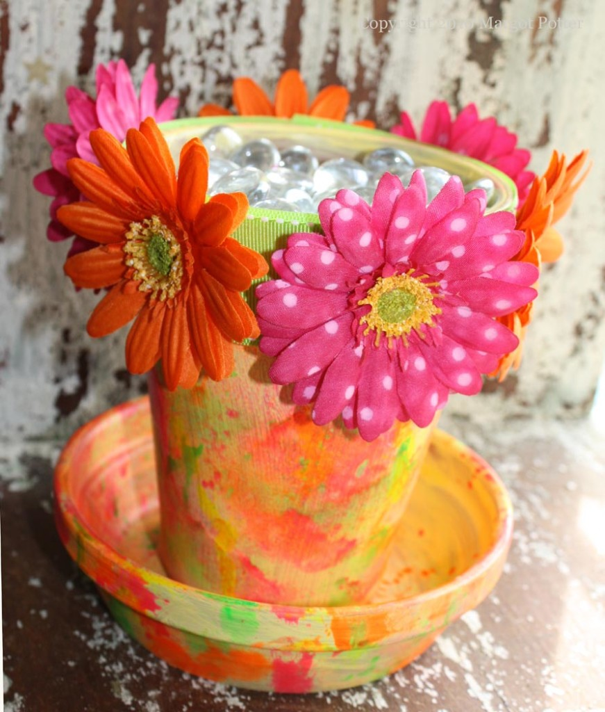 Neon Impressionist flower pot crafts