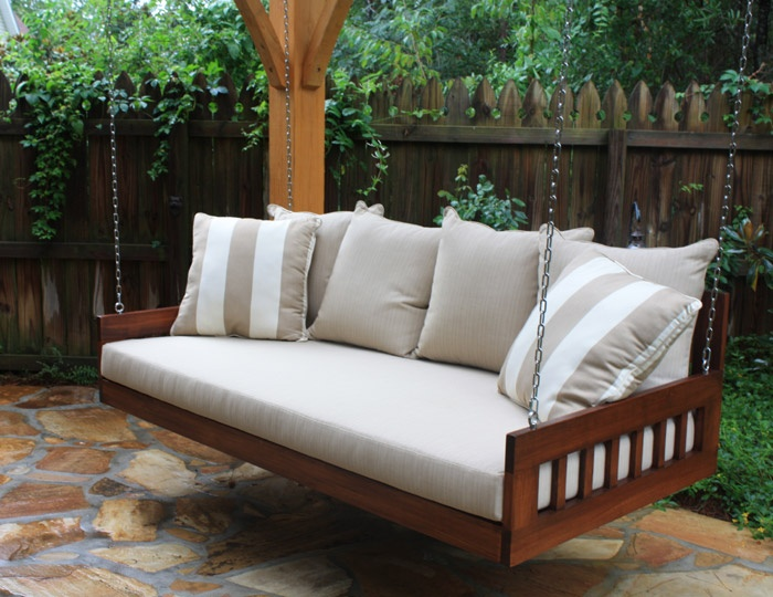 Relaxing hanging porch bed