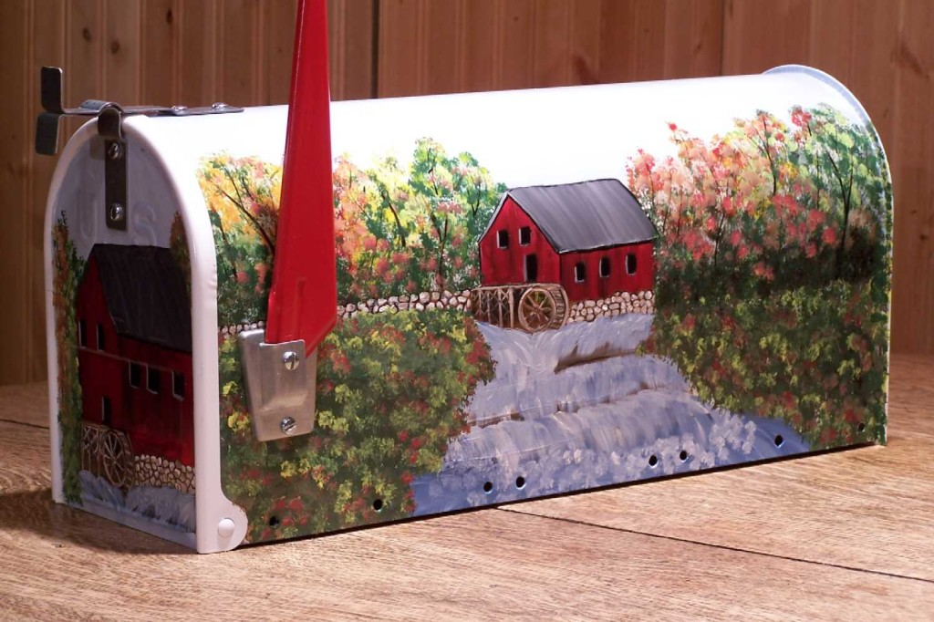 The hand painted mailboxes