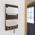 double mail letter holder wood wall mount key