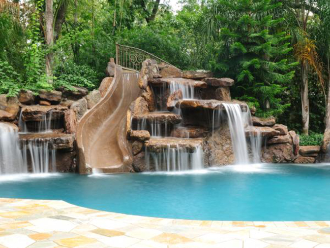 swimming pool waterfalls fountains