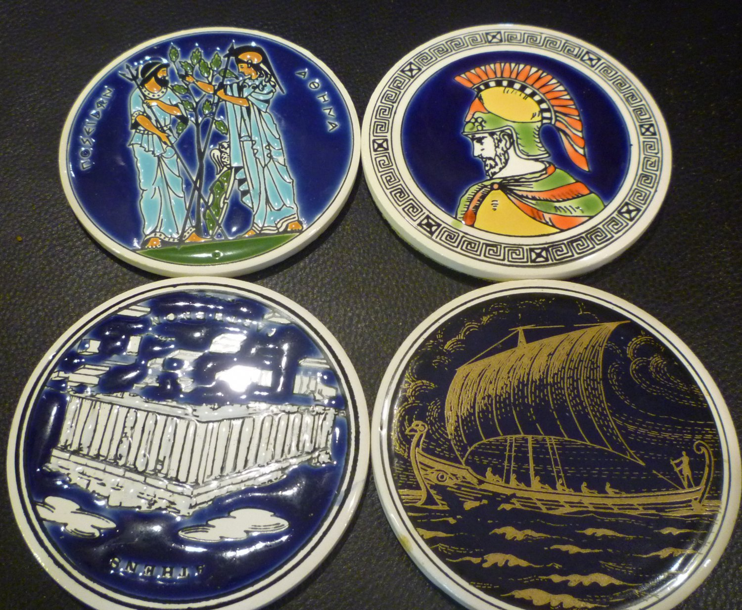 vintage ceramic coasters FROM GREECE PORCELAIN CERAMIC