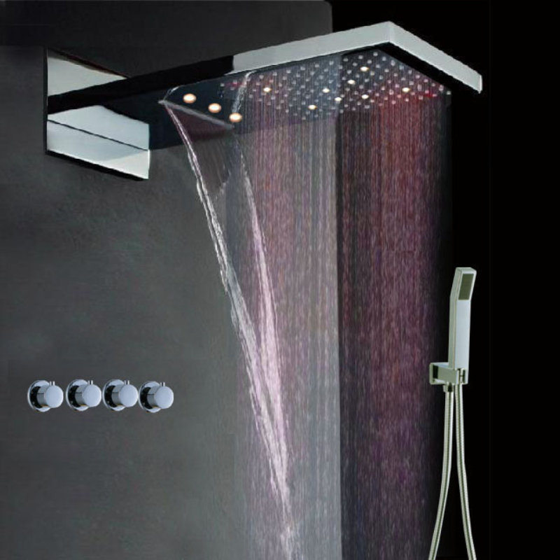 waterfall shower head led interior design ideas