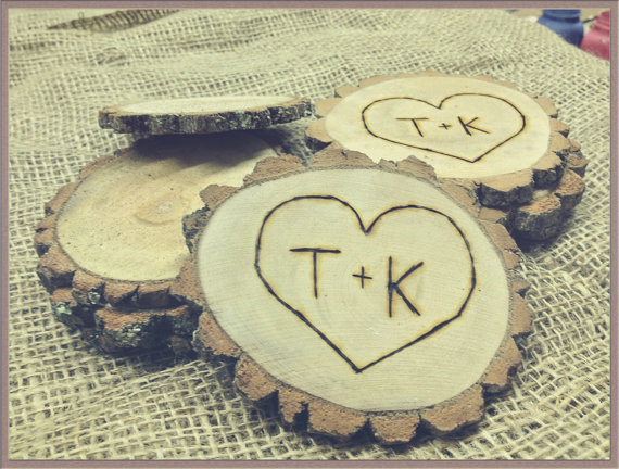 wood coasters wedding favors