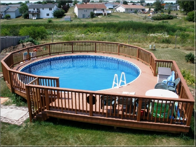 ground pool deck designs ideas