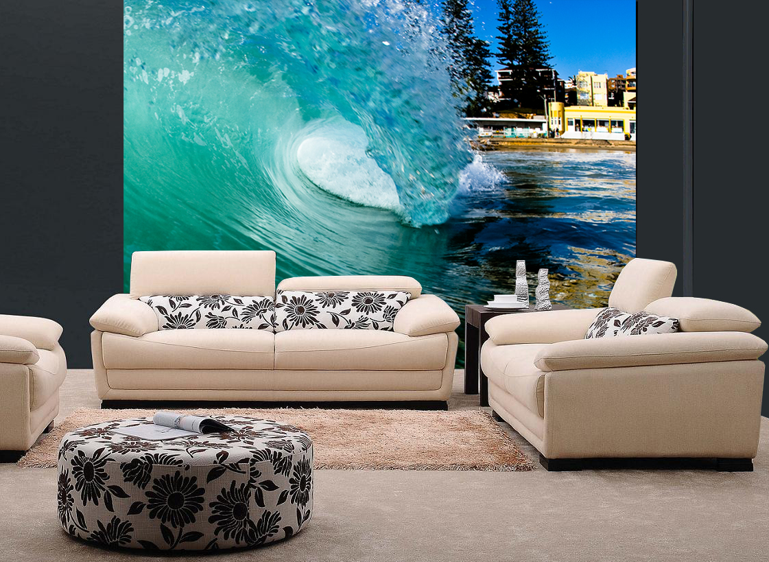 Barreling wave surfing wall mural and removable sticker for Beach mural for wall