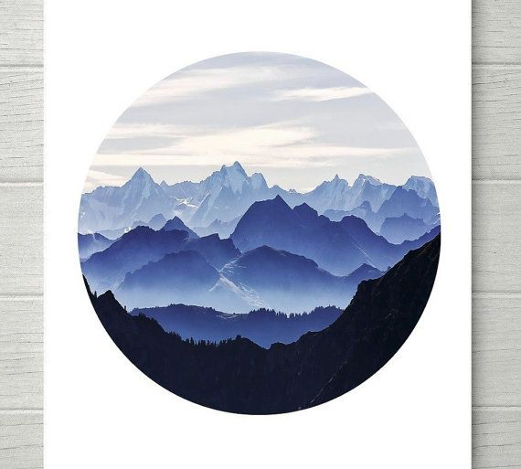 Blue Ombre Mountain Range Wall Art. Print