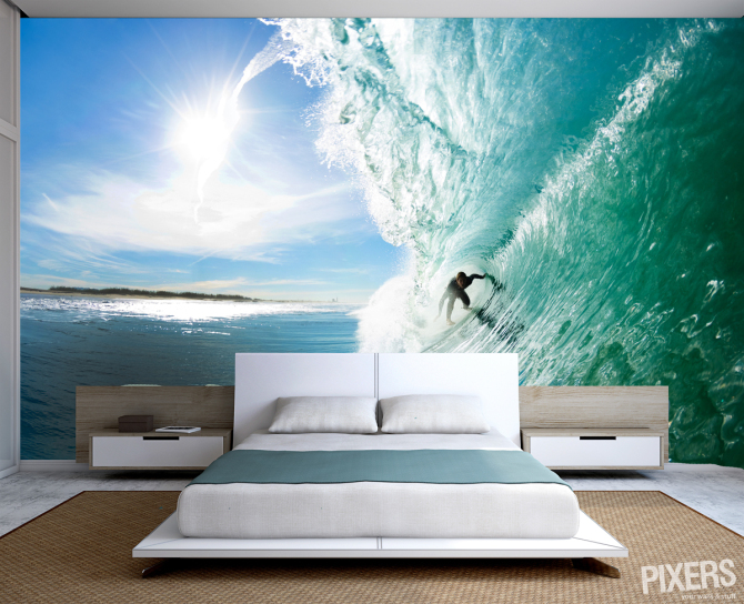 Beach and surf wall murals interior design ideas for Beach themed mural