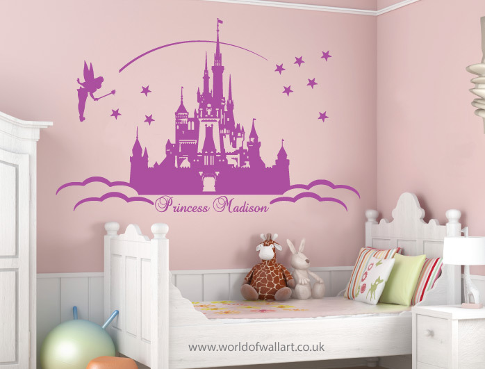 ... Large Personalised Princess Castle Wall Stickers Disney Princess Wall  Decals ...