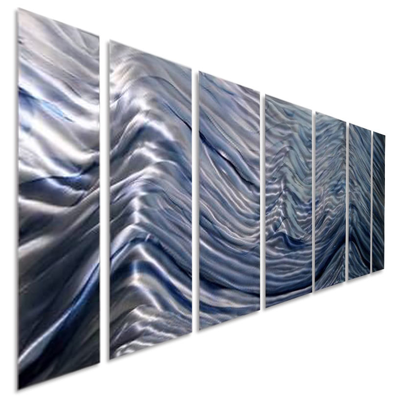 Blue Abstract Wall Decor : Stunning blue abstract metal wall art painting silver