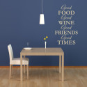 Wall Decal Wine Vino Food Friends Quote