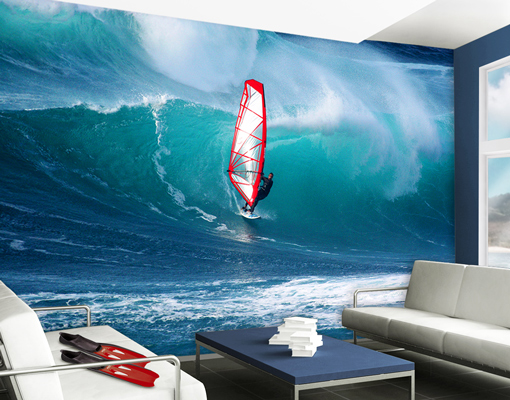 Wall Mural The Surfer Wallpaper Wall art Wall decor Sea Ocean Surfing