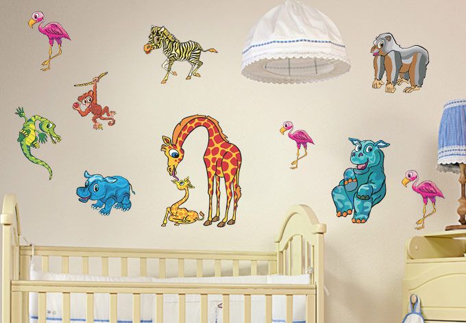 Zoo Set For Kids Rooms Wall Decal Set
