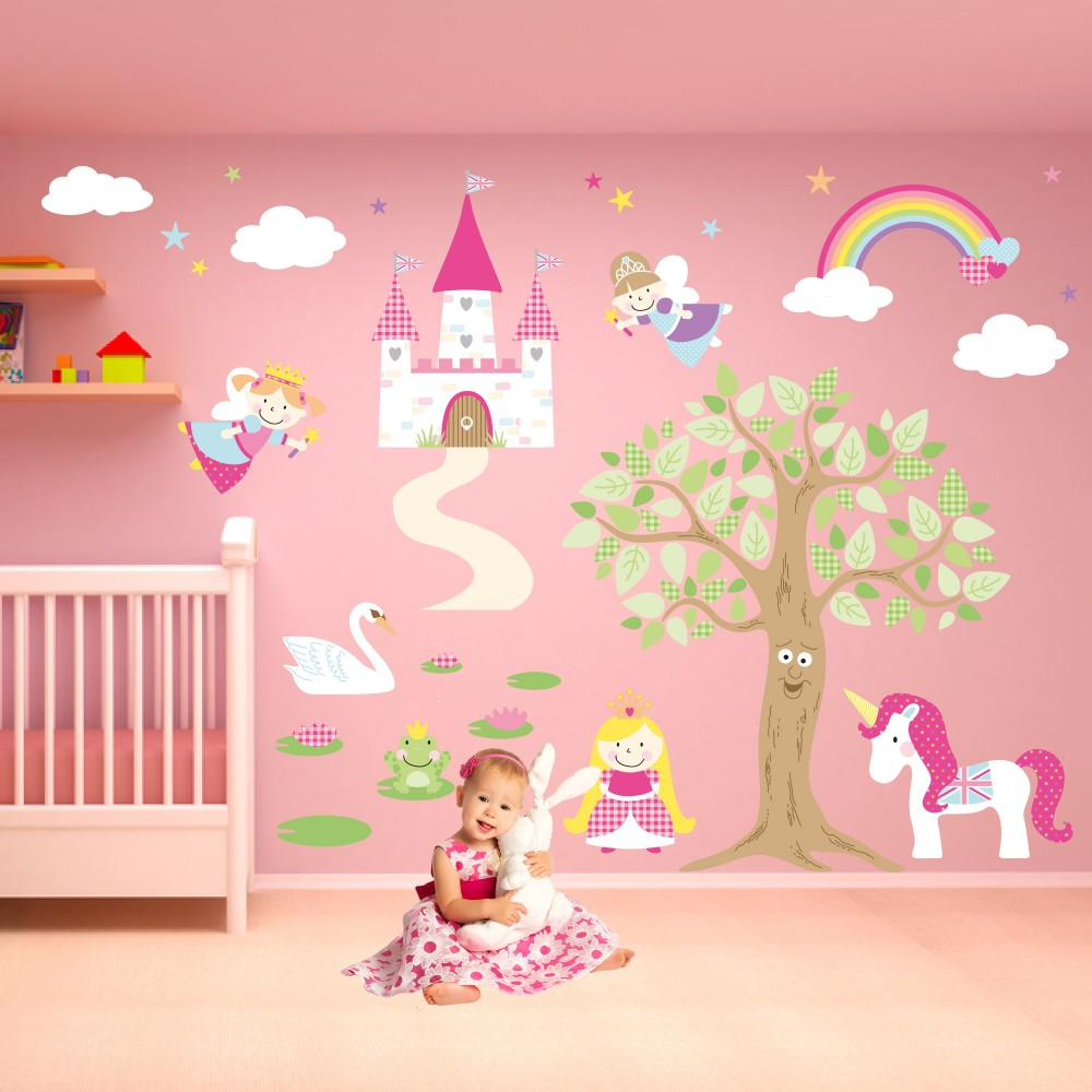 Deluxe enchanted fairy princess nursery wall stickers for Fairy princess bedroom ideas