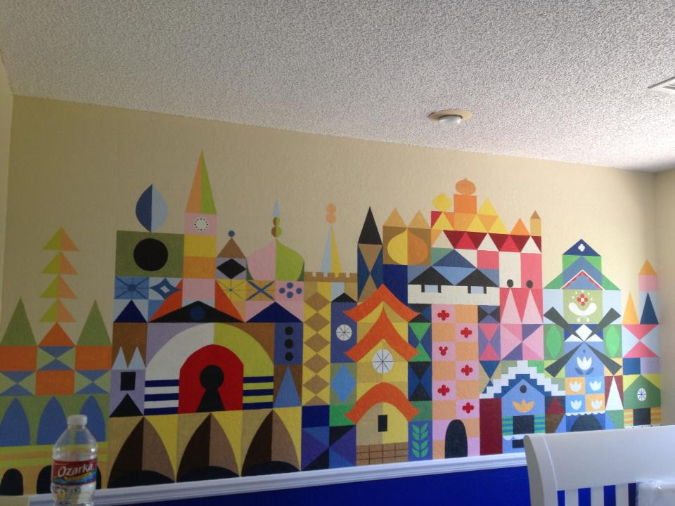 Its a small world disney baby nursery wall art interior for Baby mural ideas